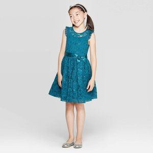 NEW! Zenzi Girl's Teal Lace Dress Front Bow Tie